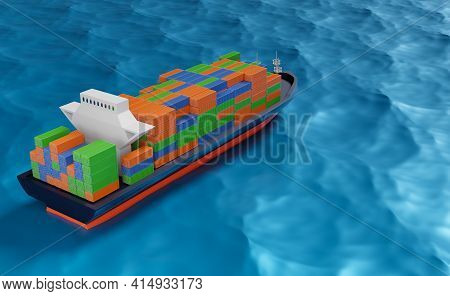 Cargo Ship With Container In Ocean Transportation ,shipping Freight Sea Or Maritime Shipping Concept