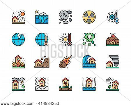 Set Of Natural Disaster Flat Color Line Icons. Drought, Global Warming And More.