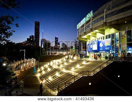 MELBOURNE - JANUARY 27: Rod Laver Arena and Melbourne skyline on the night of the 2013 Australian Open Mens Final on January 27, 2013 in Melbourne, Australia.