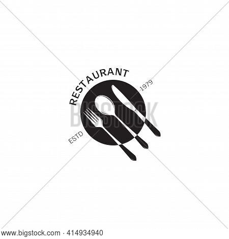 Cooking, Cuisine Simple Cutlery  Isolated Logo. Icon And Label For Design Menu Restaurant Or Cafe On