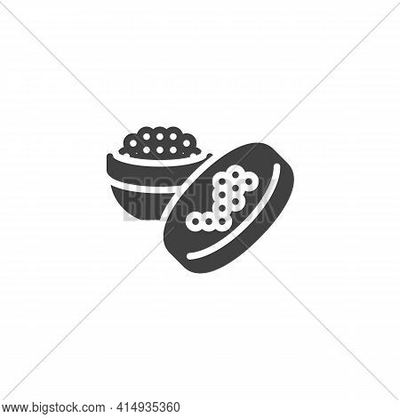 Caviar Jar Vector Icon. Filled Flat Sign For Mobile Concept And Web Design. Caviar Food Glyph Icon.