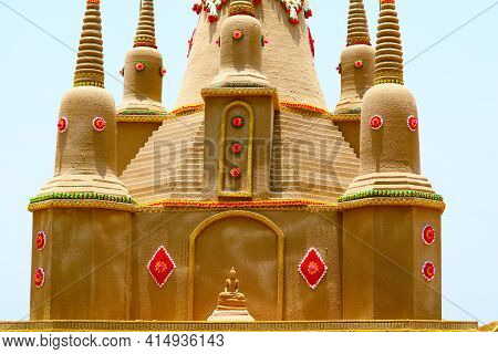 Lord Buddha Meditation Style Sit On Sand Pagoda Was Carefully Built In Songkran Festival