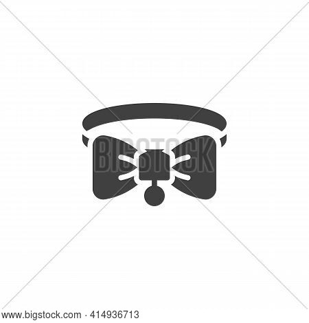 Pet Collar Vector Icon. Filled Flat Sign For Mobile Concept And Web Design. Cat Collar With Bow Glyp