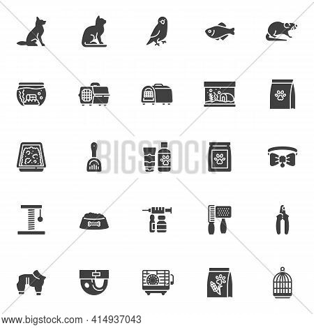 Pet Shop Vector Icons Set, Modern Solid Symbol Collection Filled Style Pictogram Pack. Signs, Logo I
