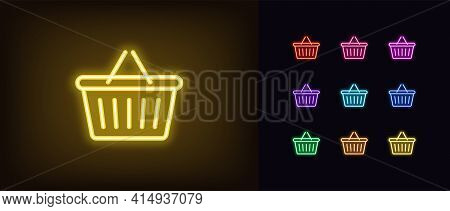 Neon Shop Basket Icon. Glowing Neon Basket With Handle, Outline Sign And Silhouette In Vivid Colors.