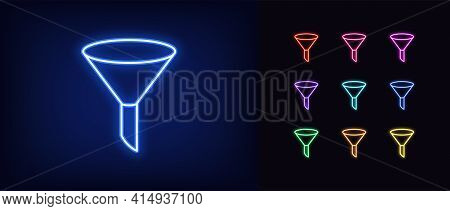 Neon Sales Funnel Icon. Glowing Neon Funnel Sign, Outline Conversion Tool In Vivid Colors. Automatic