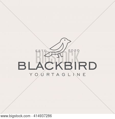 Simple Minimalist Bird Logo Vector Line Outline Monoline Art Icon Design Vector Stock