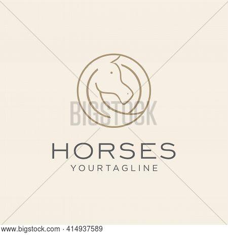 Line Style Circle Horse Stallion Logo Design Template Vector Stock