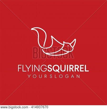 Simple Minimalist Unique Flying Squirrel Logo Line Art Design Vector Inspiration. Chipmunk Logo Icon
