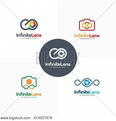 Set Of Infinity Lens Photography Logo Designs Concept Vector, Infinity And Camera Logo Symbol Icon
