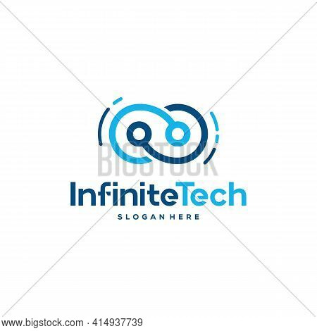 Infinity Technology Logo Designs Concept Vector, Pixel And Infinity Logo Template Icon Symbol