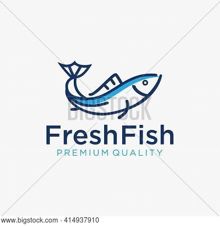 Simple Outline Fish Line Art Monoline Logo Vector Badge Design. Tuna Fresh Fish Logo Emblem Label Se