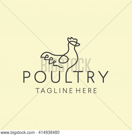 Simple Minimalist Chicken Logo Poultry Farm Line Art Outline Design Vector Illustration