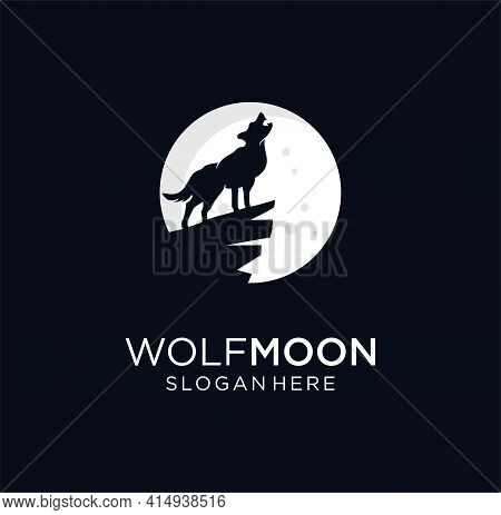 Howling Wolf Moon Logo Design Vector Stock Illustration With On Black Background