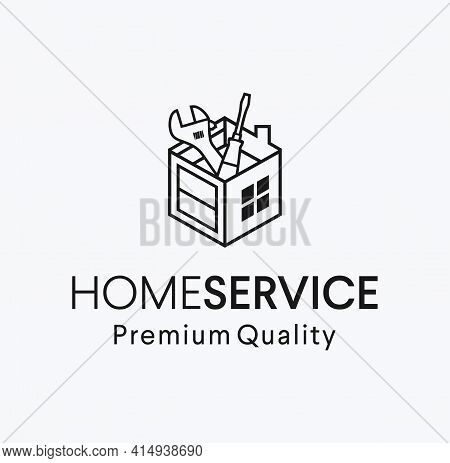 House Service Toolbox Logo Design Vector Illustration. Home Remodel Tools Logo Icon. Home Repair Ser