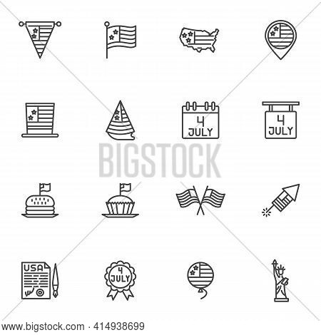 American Independence Day Line Icons Set, Outline Vector Symbol Collection Linear Style Pictogram Pa