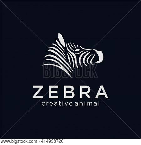 Logo Animal Face Zebra. The Silhouette Of The Head Of A Zebra Painted In Black, Painted In Curved Li
