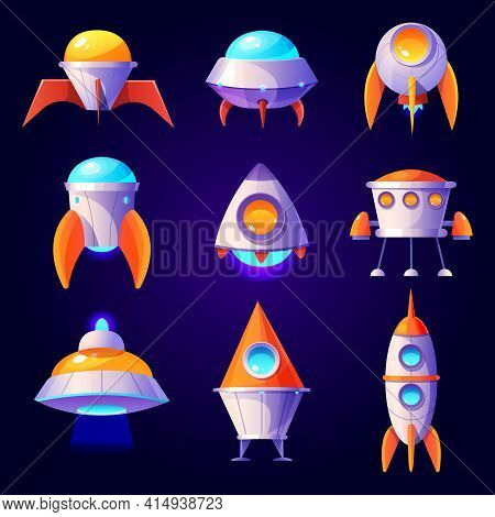 Rockets, Ufo And Shuttles Isolated On Blue Background. Vector Cartoon Futuristic Design Of Different