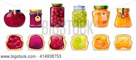 Jam Jars And Bread Toasts, Glass Containers With Fruit Jelly Of Peach, Apricot, Sea Buckthorn, Cherr