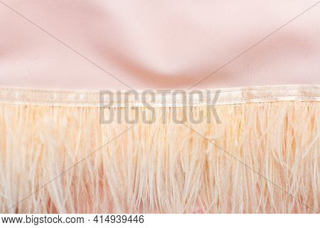 Soft Pink Feathers On Silk Fabric Background Texture With Thin Delicate Feathers.