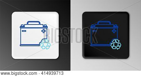 Line Car Battery With Recycle Icon Isolated On Grey Background. Accumulator Battery Energy Power And