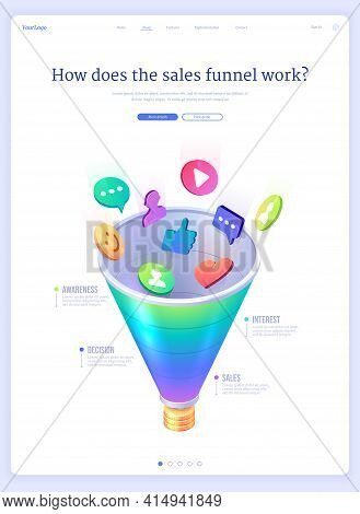Sales Funnel Isometric Landing Page, Conversion Rate, Money Profit Lead Generation. Digital Marketin