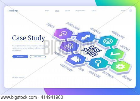 Case Study Isometric Landing Page. Business Information Research And Analysis, Education And Knowled