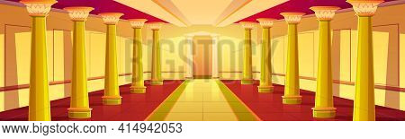 Castle Corridor With Gold Columns. Palace Empty Colonnade Interior With Golden Antique Pillars And T