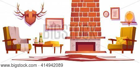 Living Room Interior Objects In Traditional Chalet Style, Wooden Furniture. Fireplace, Horns And Pic