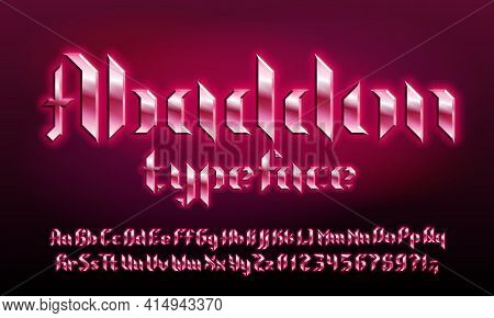 Abaddon Alphabet Font. Glowing Letters And Numbers In Heavy Metal Style. Uppercase And Lowercase. Re