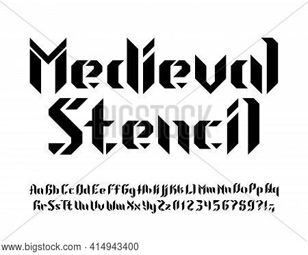 Medieval Stencil Alphabet Font. Letters, Numbers And Symbols. Uppercase And Lowercase. Stock Vector