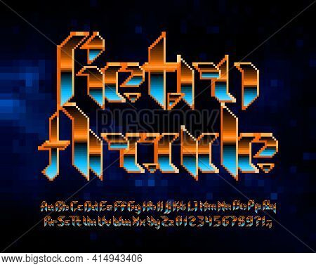 Retro Arcade Alphabet Font. Pixel Letters, Numbers And Punctuations In Hard Rock Style. 80s Arcade V