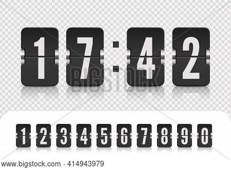 Vector Illustration Template. Scoreboard Number Font. Flip Countdown Number On White. Vintage Flip C