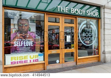 Llandudno, Uk: Mar 18, 2021: A Poster In The Mostyn Street Branch Of The Body Shop Promotes Their Se