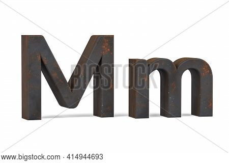 Rusty Letter M - Three Dimensional Uppercase And Lowercase M On White Background - 3d Render