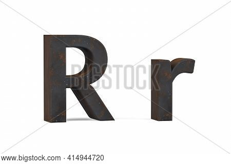 Rusty Letter R - Three Dimensional Uppercase And Lowercase R On White Background - 3d Render
