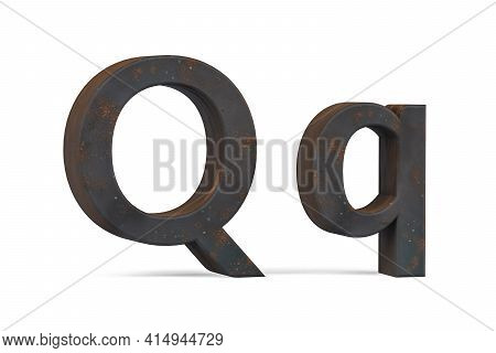 Rusty Letter Q - Three Dimensional Uppercase And Lowercase Q On White Background - 3d Render