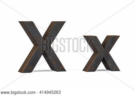 Rusty Letter X - Three Dimensional Uppercase And Lowercase X On White Background - 3d Render