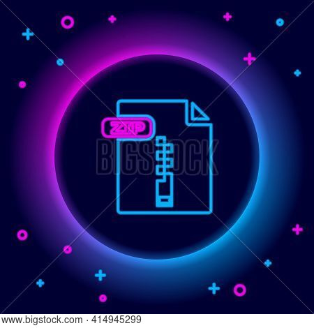 Glowing Neon Line Zip File Document. Download Zip Button Icon Isolated On Black Background. Zip File