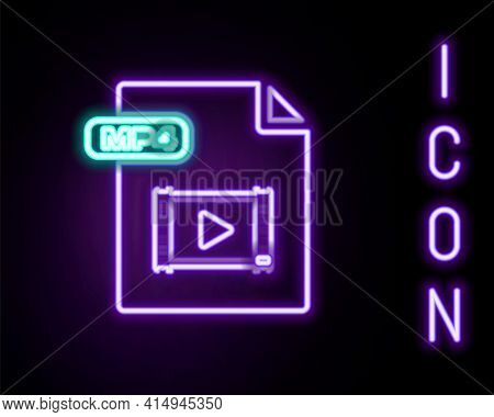 Glowing Neon Line Mp4 File Document. Download Mp4 Button Icon Isolated On Black Background. Mp4 File