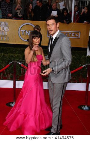 LOS ANGELES - JAN 27:  Lea Michele, Cory Monteith arrive at the 2013 Screen Actor's Guild Awards at the Shrine Auditorium on January 27, 2013 in Los Angeles, CA