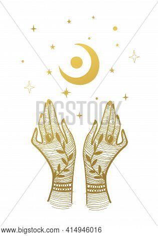 Two Golden Female Hands And A Crescent Moon With Stars. Vintage Illustration For Tarot, Palmistry, W