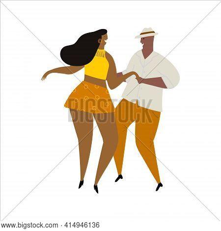 Hand Drawn Vector Cartoon Illustration Of A Couple Dancing Sexy Fun Bachata, Salsa, Mambo, Kizomba D