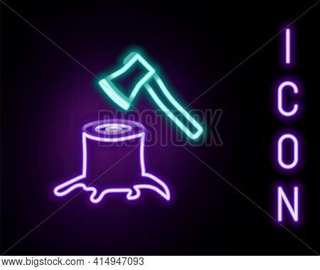 Glowing Neon Line Wooden Axe In Stump Icon Isolated On Black Background. Lumberjack Axe. Axe Stuck I
