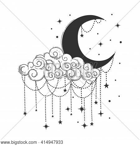 Crescent Moon And Cloud With Decorations And Stars. Celestial Symbols For Tarot, Astrology, T-shirt