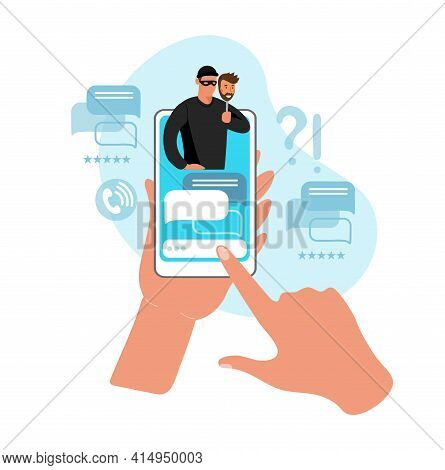Two Hands Are Holding A Phone With A Chat With A Cheater On The Smartphone Screen. Concept Of Cyberc