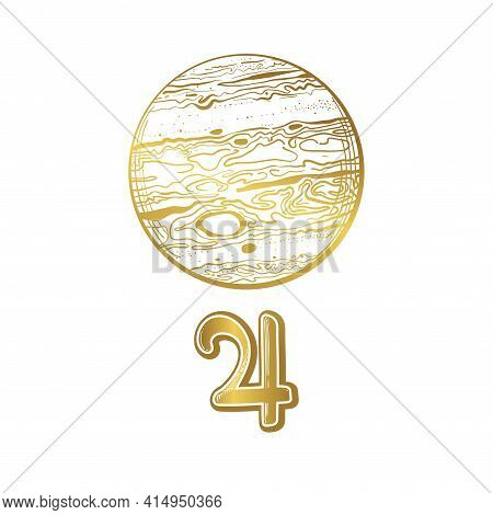 Planet Jupiter, Golden Linear Hand Drawing. Vintage Boho Symbol For Astrology, Zodiac Signs, Divinat