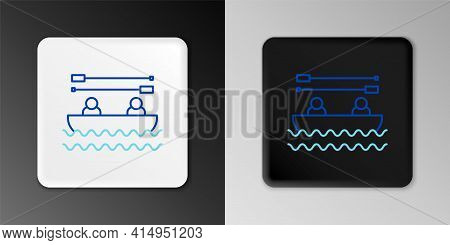 Line Boat With Oars And People Icon Isolated On Grey Background. Water Sports, Extreme Sports, Holid