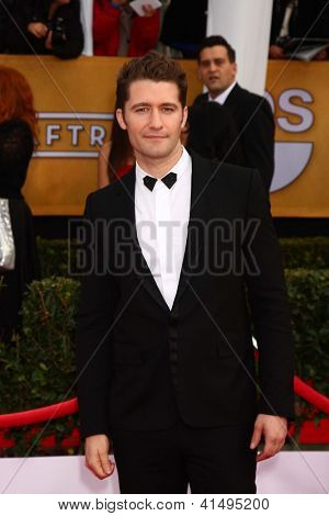LOS ANGELES - JAN 27:  Matthew Morrison arrives at the 2013 Screen Actor's Guild Awards at the Shrine Auditorium on January 27, 2013 in Los Angeles, CA