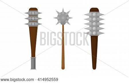 Medieval Cold Steel Arms Or Weapon With Spiked Club Vector Set